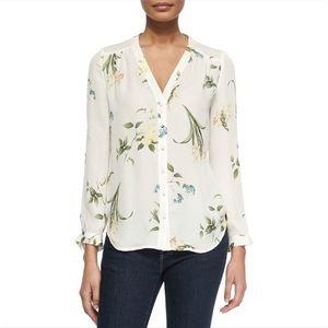 Joie Floral Silk Button Down Blouse